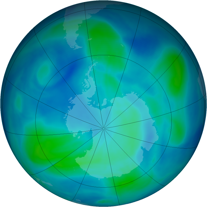 Antarctic ozone map for 02 March 2007