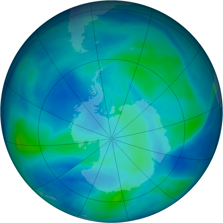 Antarctic ozone map for 04 March 2007