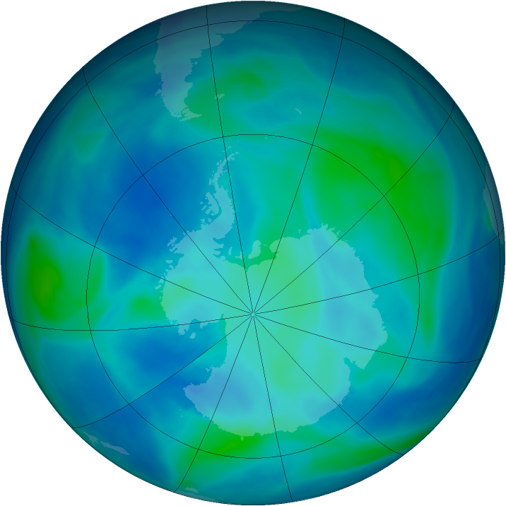Antarctic ozone map for 05 March 2007