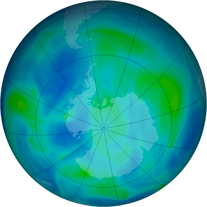 Antarctic ozone map for 06 March 2007