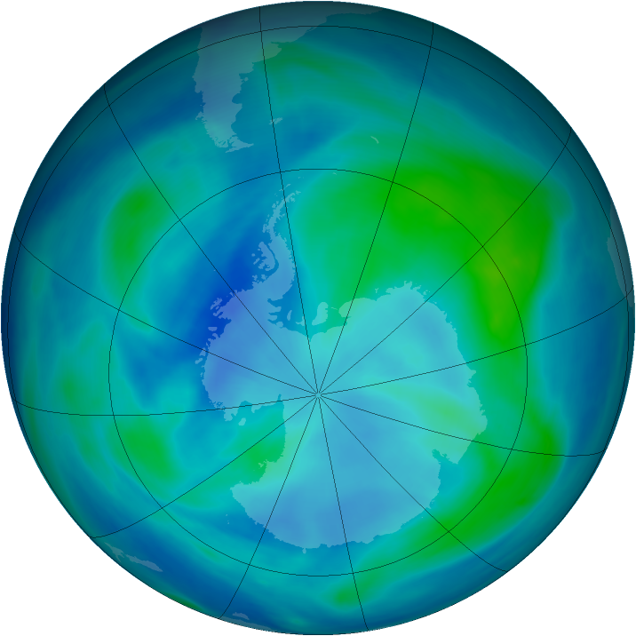 Antarctic ozone map for 10 March 2007