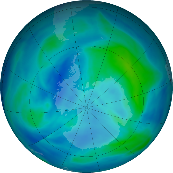 Antarctic ozone map for 11 March 2007