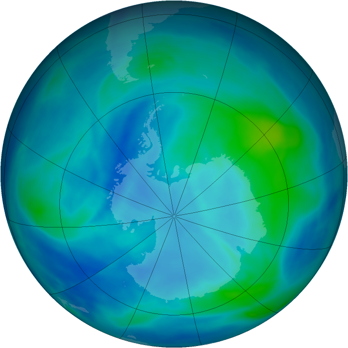 Antarctic ozone map for 12 March 2007
