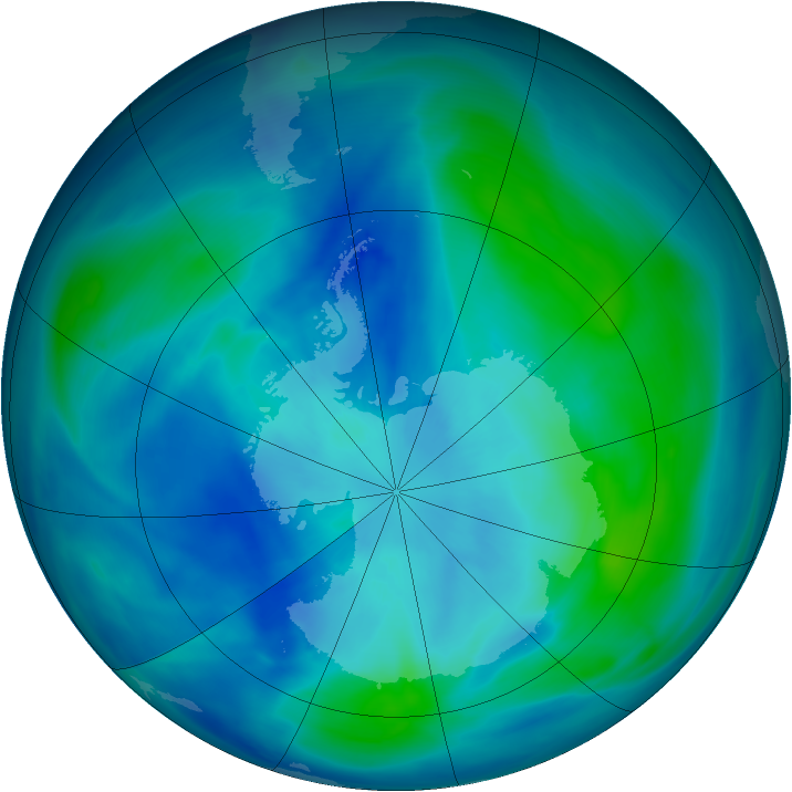 Antarctic ozone map for 16 March 2007
