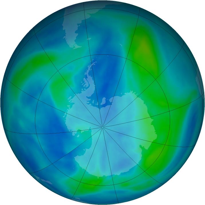 Antarctic ozone map for 17 March 2007