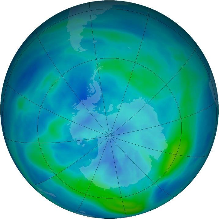 Antarctic ozone map for 22 March 2007