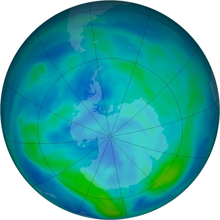 Antarctic ozone map for 23 March 2007