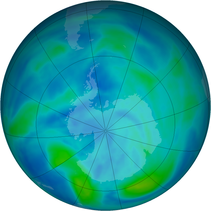 Antarctic ozone map for 24 March 2007