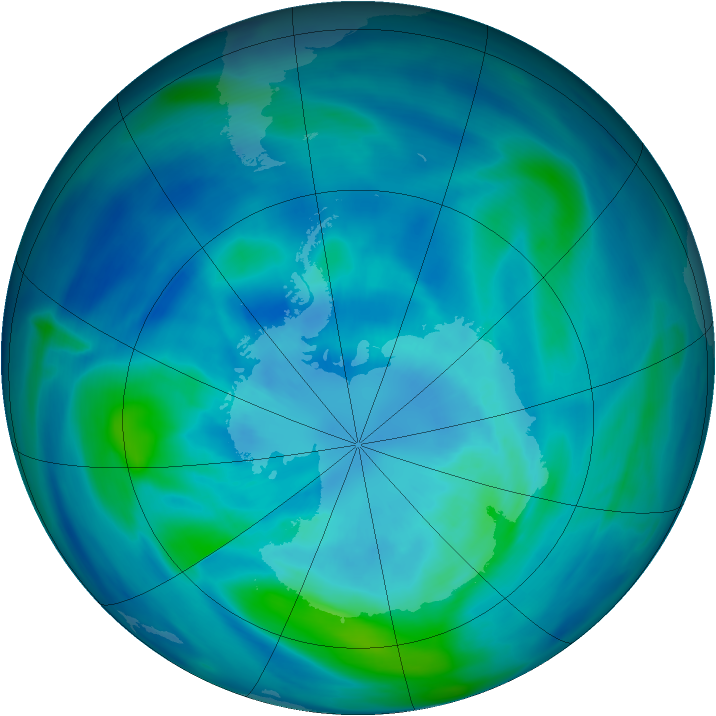 Antarctic ozone map for 26 March 2007
