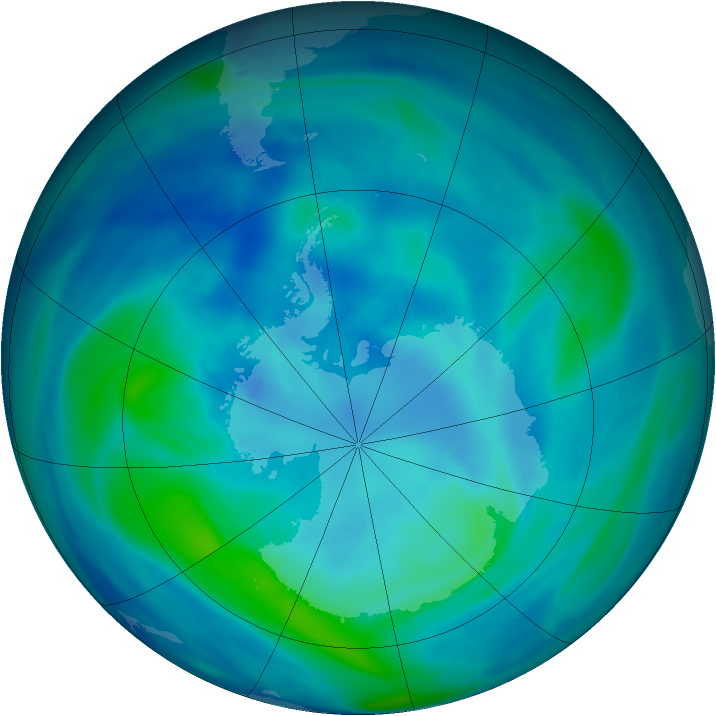 Antarctic ozone map for 27 March 2007