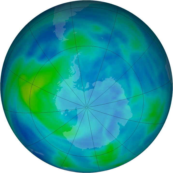 Antarctic ozone map for 30 March 2007