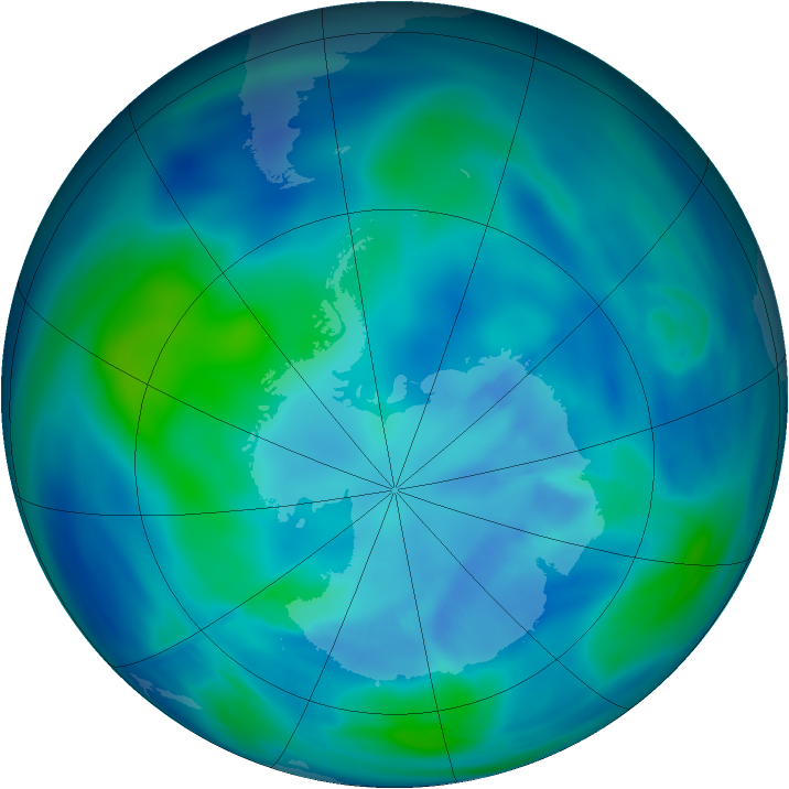 Antarctic ozone map for 31 March 2007