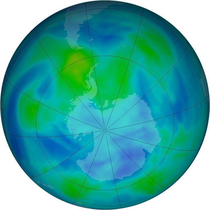Antarctic ozone map for 02 April 2007