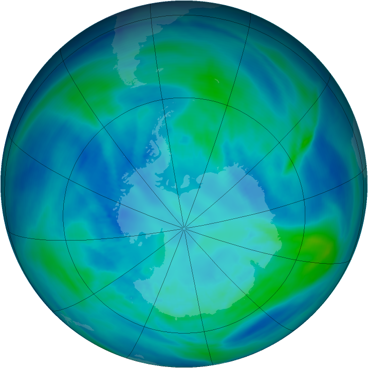 Antarctic ozone map for 08 April 2007