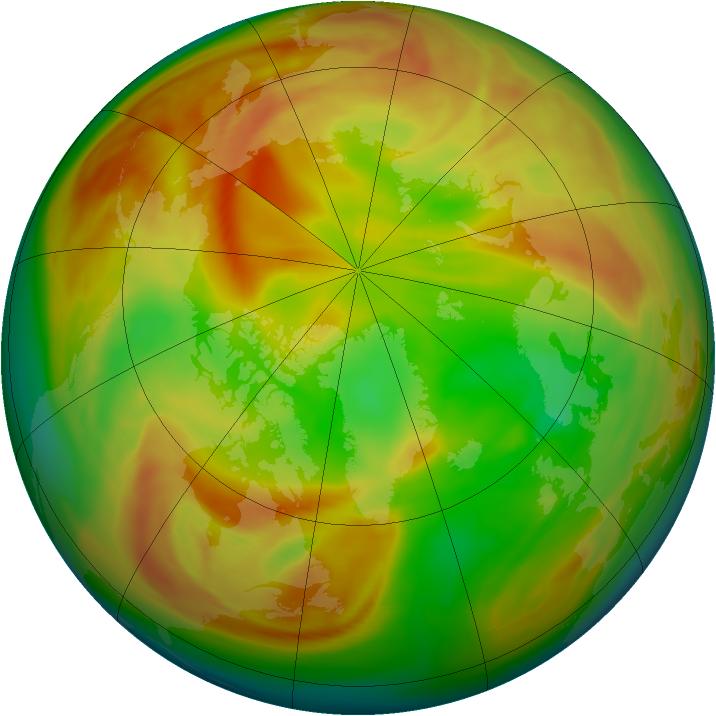 Arctic ozone map for 09 April 2007