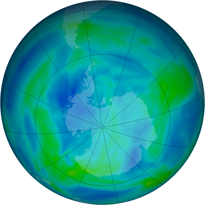 Antarctic ozone map for 11 April 2007