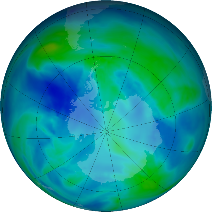 Antarctic ozone map for 16 April 2007