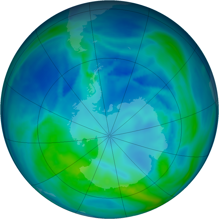 Antarctic ozone map for 23 April 2007