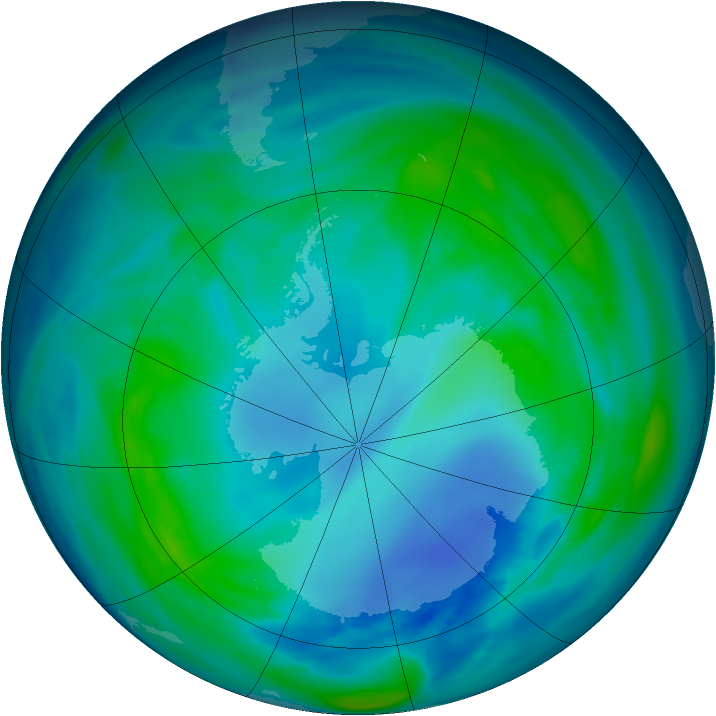 Antarctic ozone map for 01 May 2007