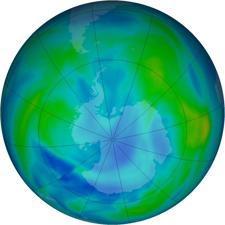 Antarctic ozone map for 04 May 2007