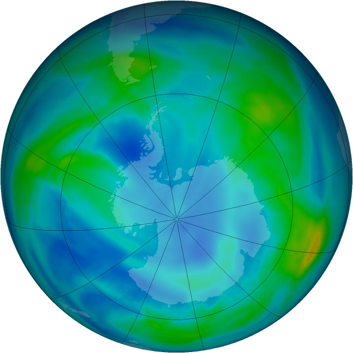 Antarctic ozone map for 05 May 2007