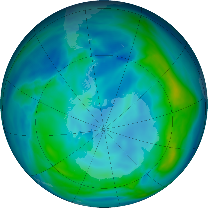 Antarctic ozone map for 10 May 2007