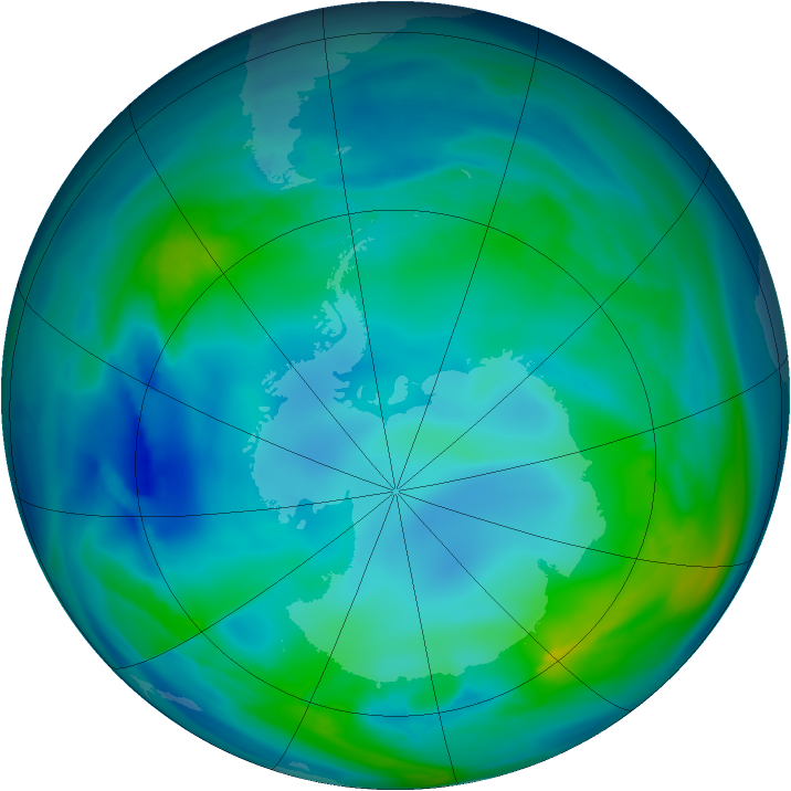 Antarctic ozone map for 13 May 2007