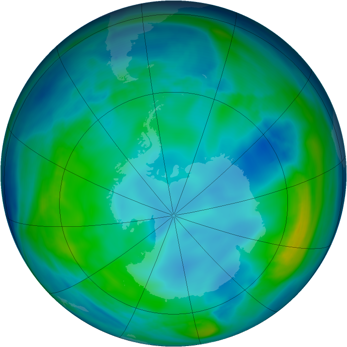 Antarctic ozone map for 19 May 2007