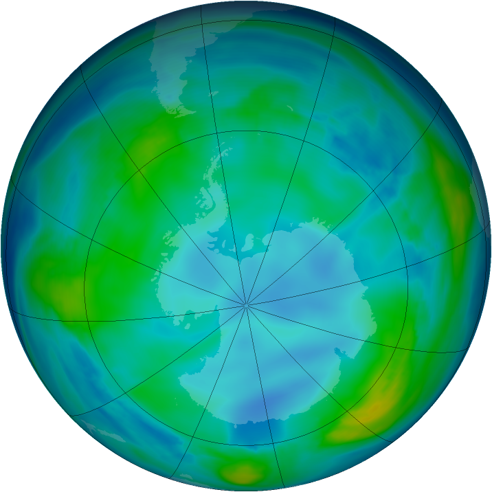Antarctic ozone map for 20 May 2007