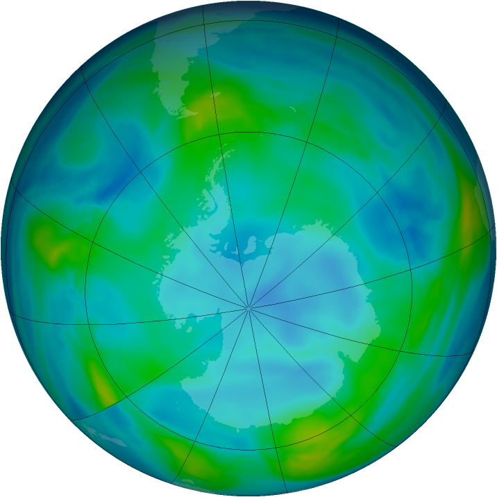 Antarctic ozone map for 21 May 2007