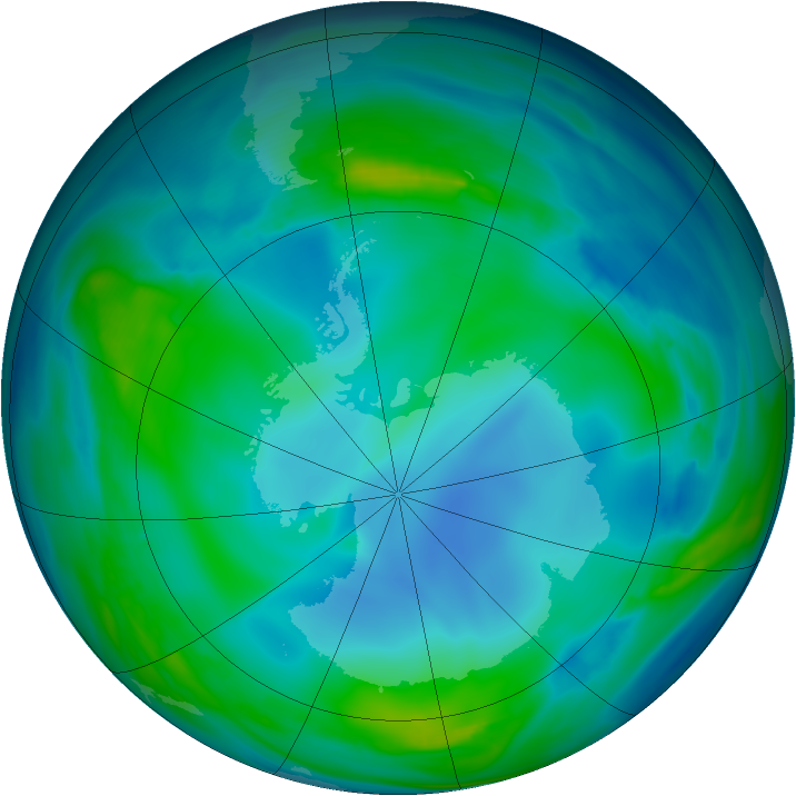 Antarctic ozone map for 26 May 2007