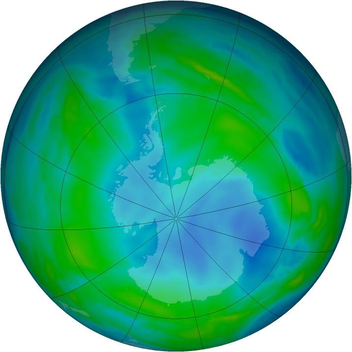 Antarctic ozone map for 27 May 2007
