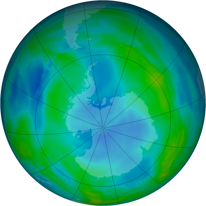 Antarctic ozone map for 29 May 2007