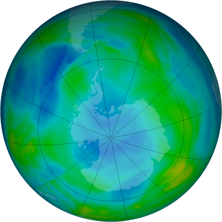 Antarctic ozone map for 30 May 2007