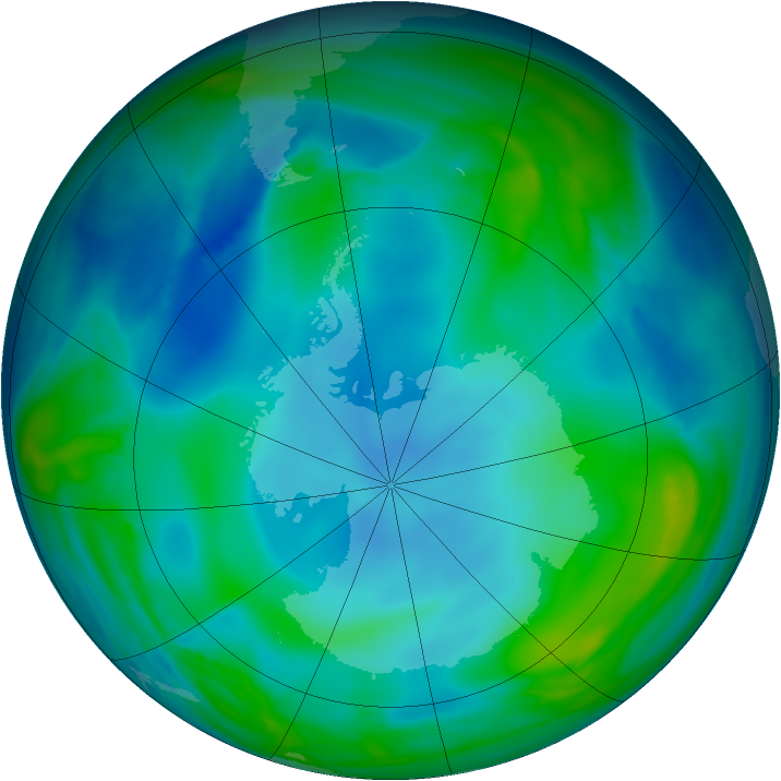 Antarctic ozone map for 31 May 2007