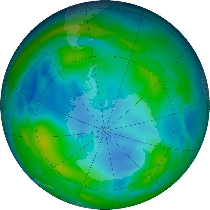 Antarctic ozone map for 10 June 2007