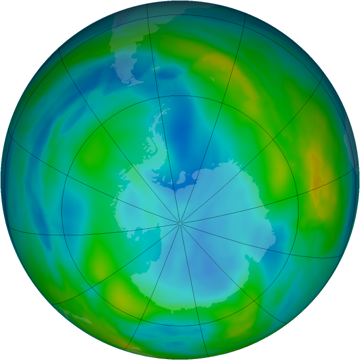 Antarctic ozone map for 13 June 2007