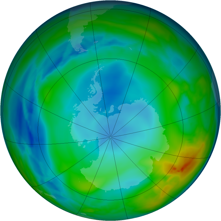 Antarctic ozone map for 17 June 2007