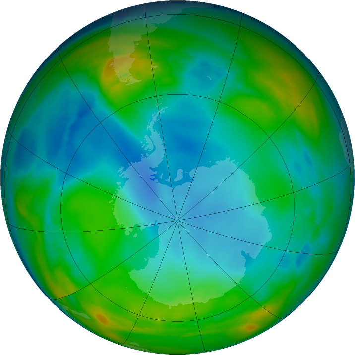 Antarctic ozone map for 21 June 2007