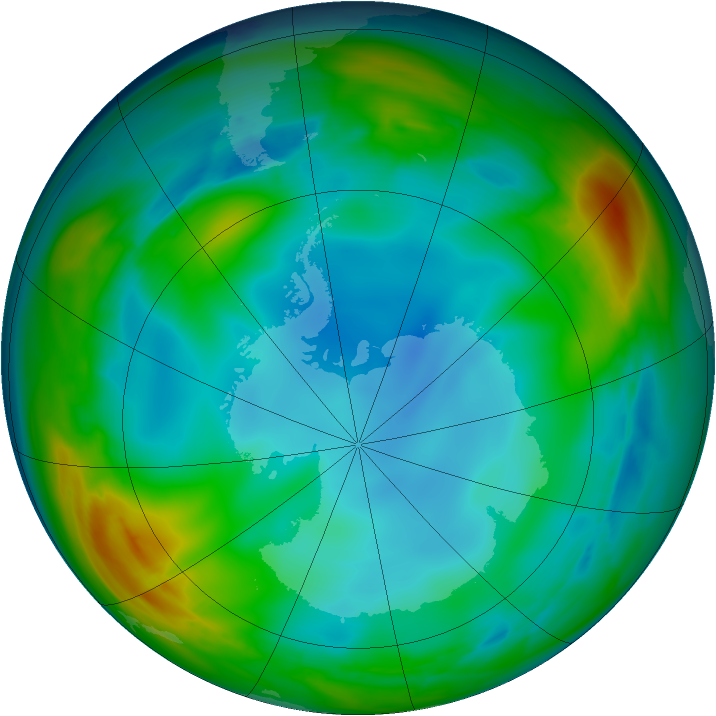 Antarctic ozone map for 24 June 2007