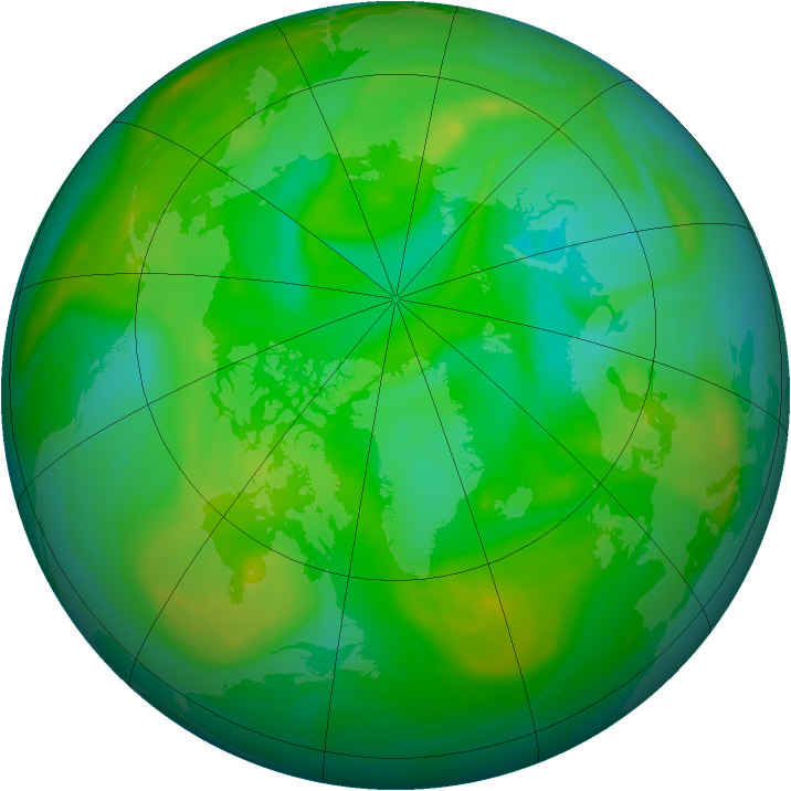 Arctic ozone map for 12 July 2007