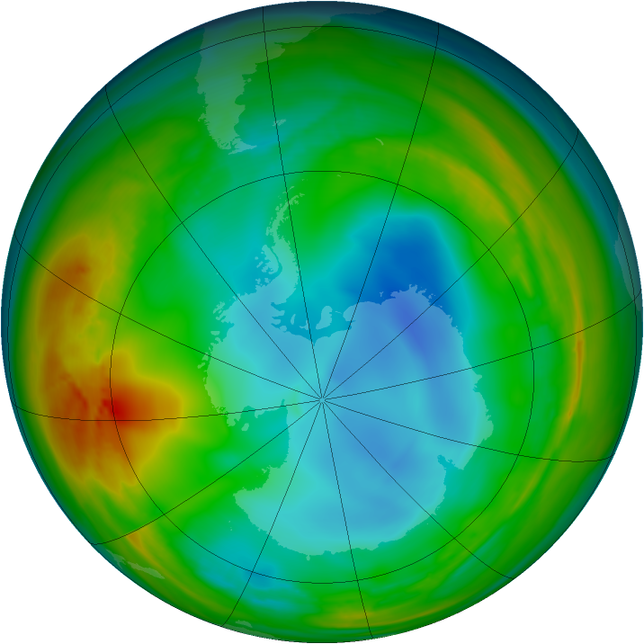 Antarctic ozone map for 14 July 2007