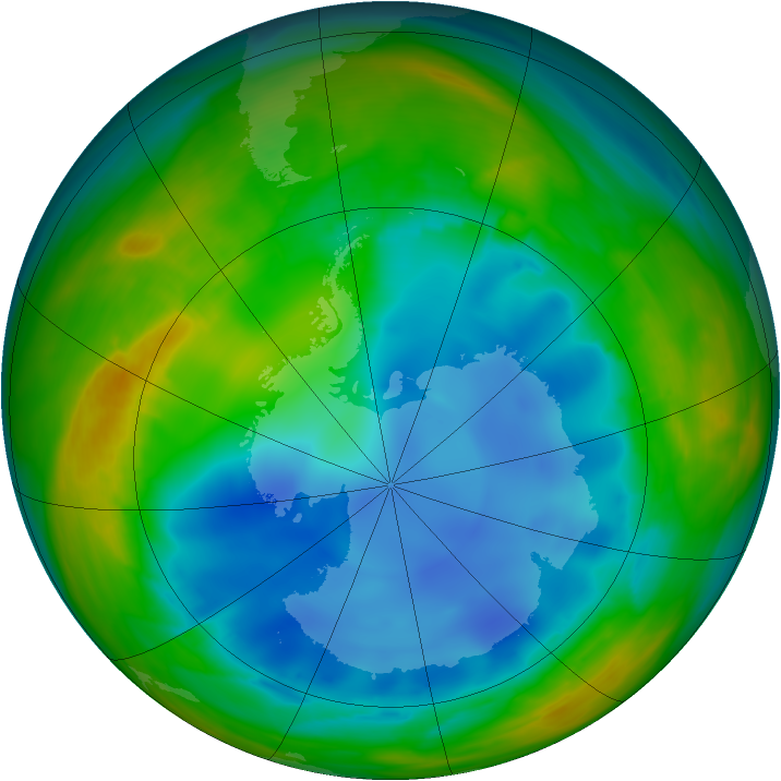 Antarctic ozone map for 28 July 2007