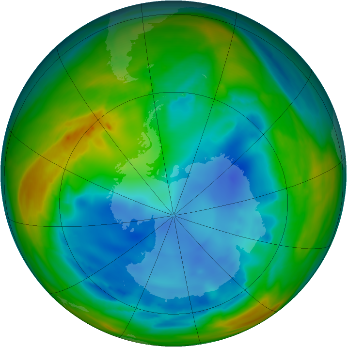 Antarctic ozone map for 29 July 2007