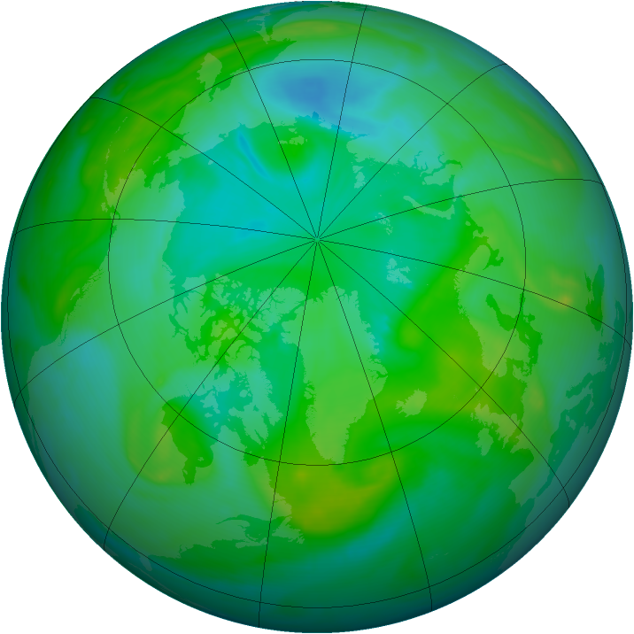 Arctic ozone map for 02 August 2007