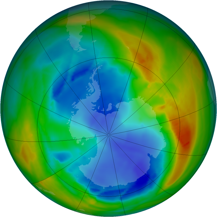 Antarctic ozone map for 09 August 2007
