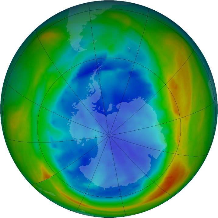 Antarctic ozone map for 11 August 2007