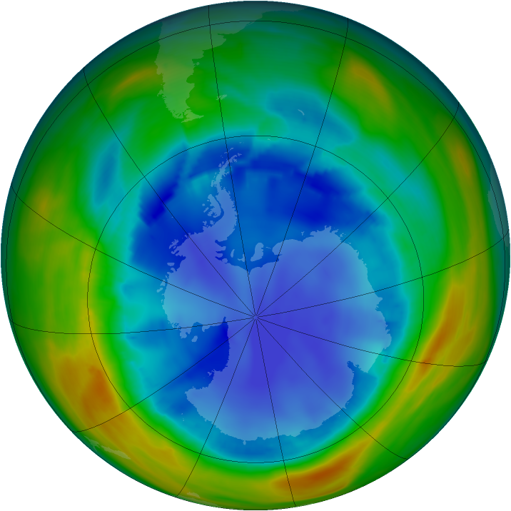 Antarctic ozone map for 13 August 2007