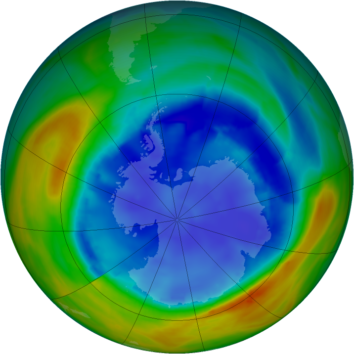 Antarctic ozone map for 17 August 2007