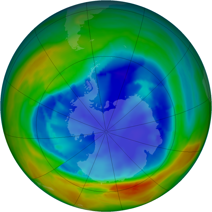 Antarctic ozone map for 18 August 2007